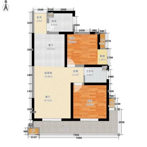 瑞泰卡地亚2室0厅1卫1厨105.00㎡户型图