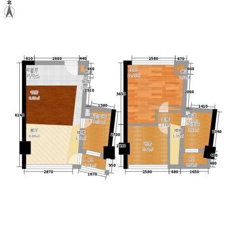 中宇国际中心2室0厅2卫0厨55.00㎡户型图
