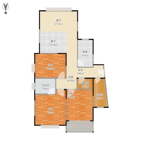 青之杰花园3室1厅2卫1厨195.00㎡户型图