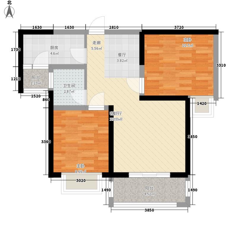 我的大学73.53㎡E2户型2室2厅1卫1厨