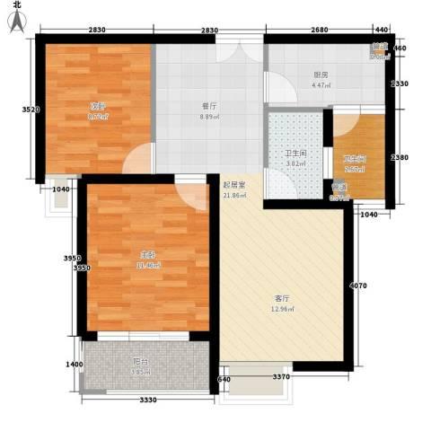 花朝小区2室0厅2卫1厨61.00㎡户型图