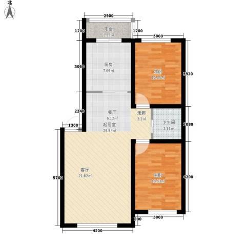 伟邦龙嘉小镇2室0厅1卫1厨87.00㎡户型图