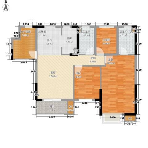 怡丰华府3室0厅2卫0厨96.00㎡户型图