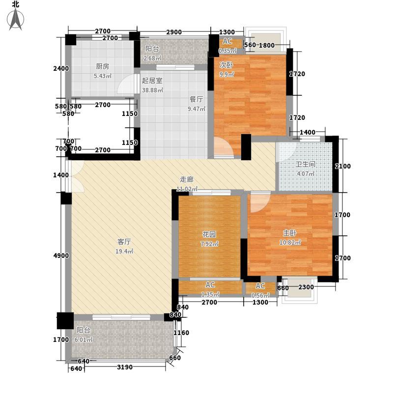 五矿・万境水岸111.40㎡一期E1栋标准层A2户型3室2厅1卫1厨