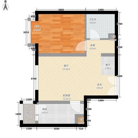 双花园西里1室0厅1卫1厨66.00㎡户型图