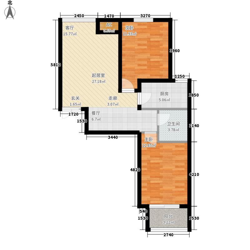 众美城廊桥四季C区户型图C4户型 2室2厅1卫1厨
