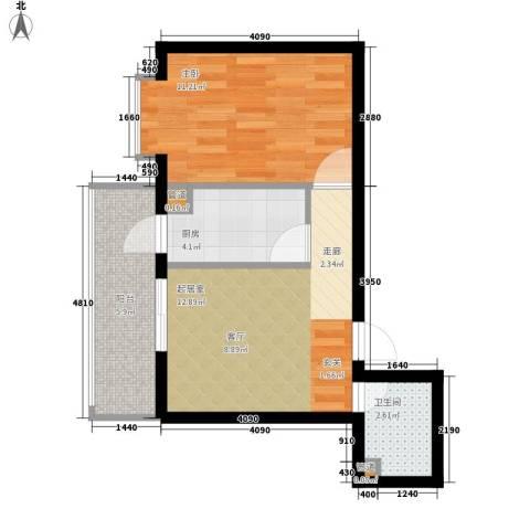 民生国际1室0厅1卫1厨39.00㎡户型图