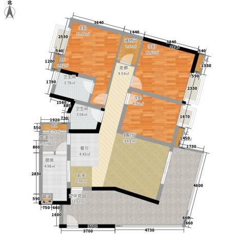 新港国际花园3室1厅2卫1厨120.00㎡户型图
