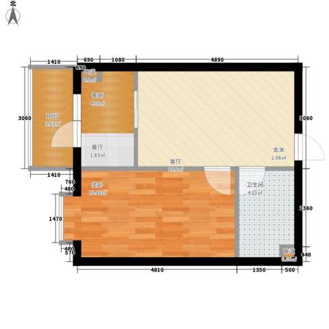 民生国际1室1厅1卫0厨42.00㎡户型图