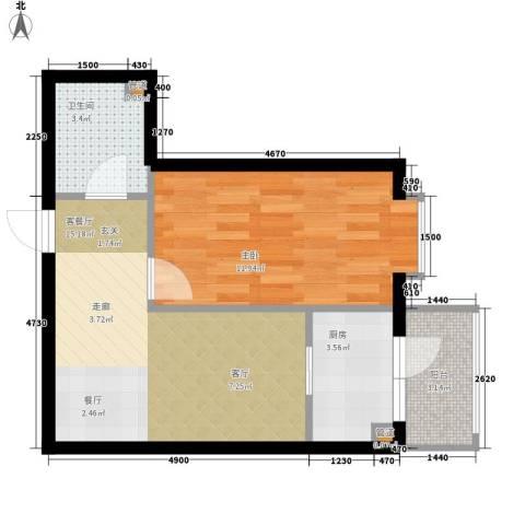 民生国际1室1厅1卫1厨42.00㎡户型图