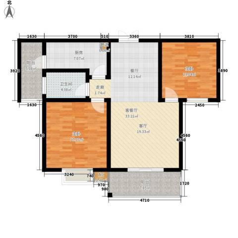 大地之歌2室1厅1卫1厨100.00㎡户型图