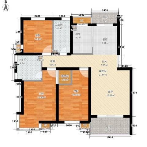 大地之歌3室1厅2卫1厨96.00㎡户型图