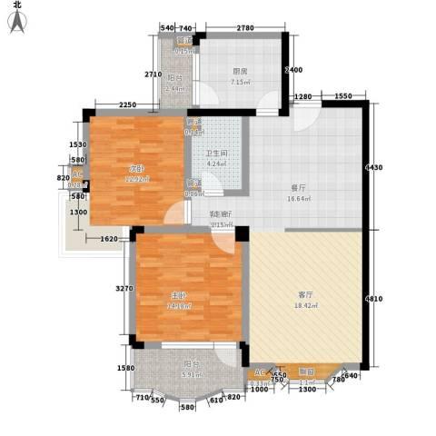 嘉城雅颂湾2室1厅1卫1厨100.00㎡户型图