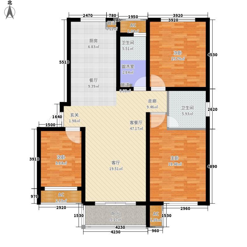 新创理想城128.26㎡新创理想城户型图三期128平米90#3室2厅2卫1厨户型3室2厅2卫1厨