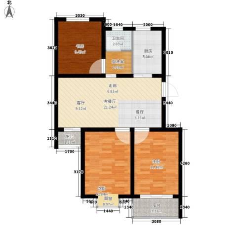 星海新村3室1厅1卫1厨80.00㎡户型图