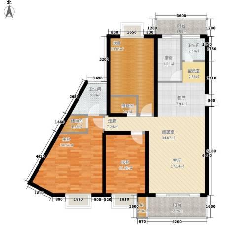 苏建艳阳居3室0厅2卫1厨129.00㎡户型图