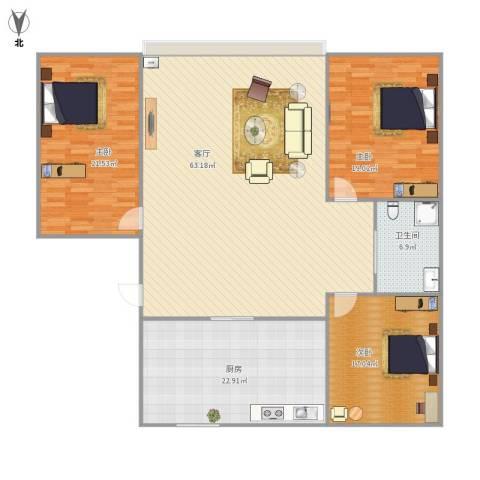 天福新城3室1厅1卫1厨197.00㎡户型图