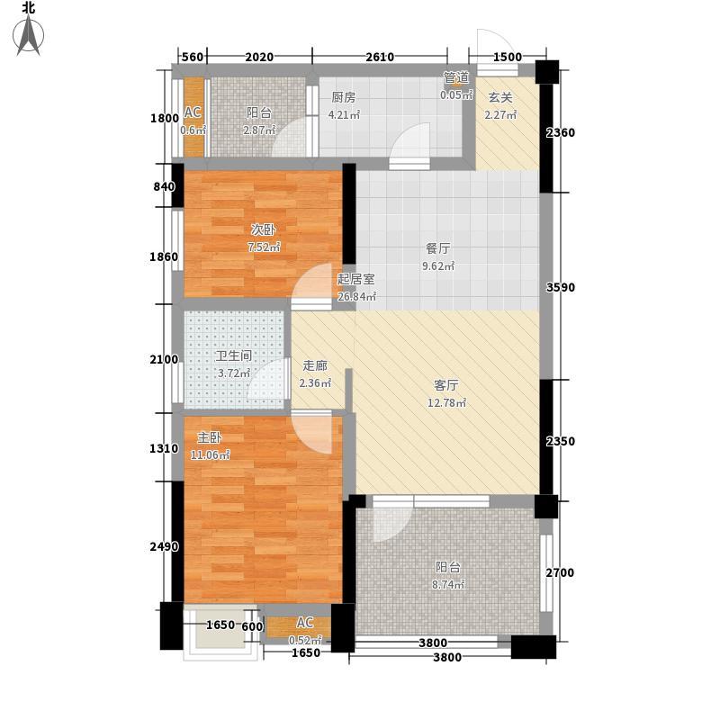 美茵庄园81.00㎡1、2、5、7号楼标准层B1户型2室1厅1卫1厨