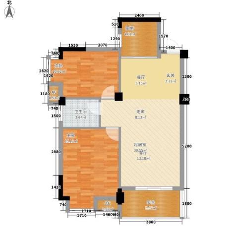 黄州宇济一号2室0厅1卫1厨101.00㎡户型图
