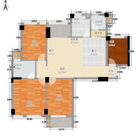 阳光城新界4室0厅2卫1厨110.00㎡户型图