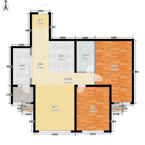 水韵名城2室0厅1卫1厨107.00㎡户型图