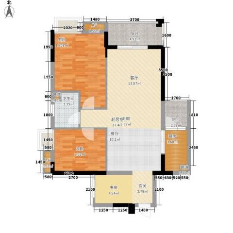 怡丰华府2室0厅1卫1厨85.00㎡户型图