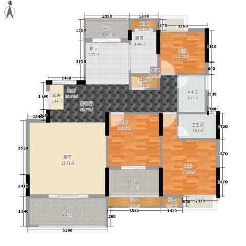 联泰香域中央3室1厅2卫1厨132.00㎡户型图