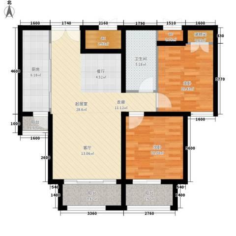 元和国际2室0厅1卫1厨96.00㎡户型图