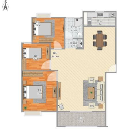 御景城3室1厅1卫1厨126.00㎡户型图