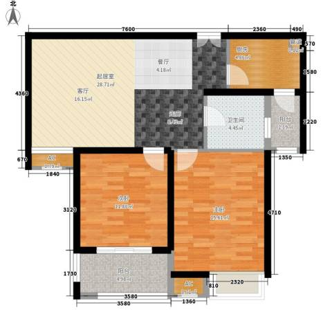 山南小镇2室0厅1卫1厨85.00㎡户型图