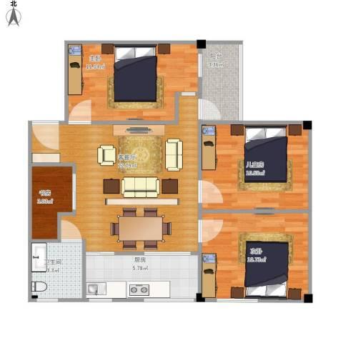 紫竹苑4室1厅1卫1厨94.00㎡户型图