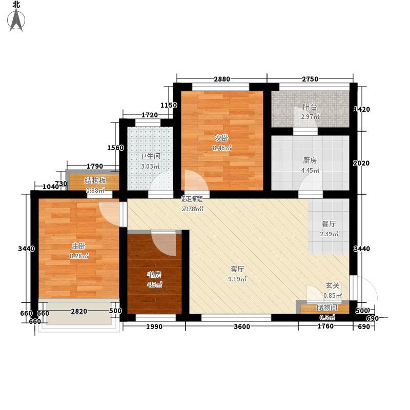 乐天圣苑1栋4栋B标准层户型3室2厅1卫1厨