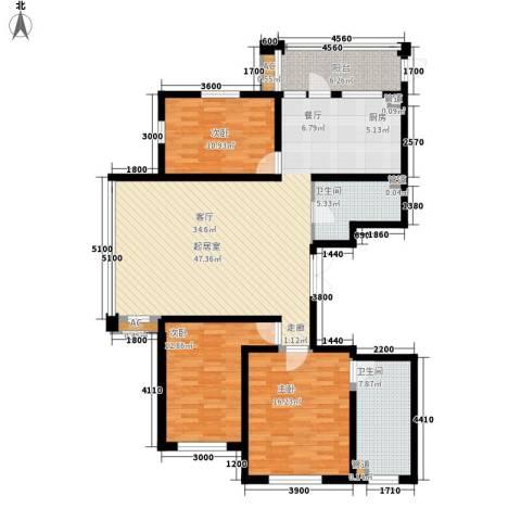 悦山国际3室0厅2卫0厨124.13㎡户型图