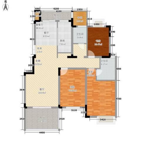 国信来凤街1号3室1厅2卫1厨140.00㎡户型图