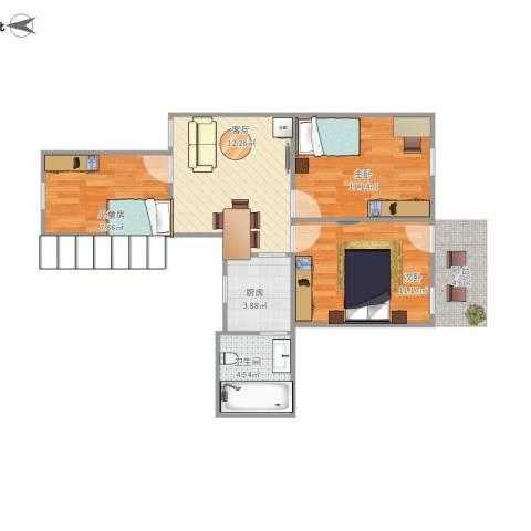 银湖花园3室1厅1卫1厨69.00㎡户型图