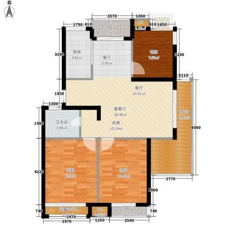 黄山怡园3室1厅1卫1厨98.00㎡户型图