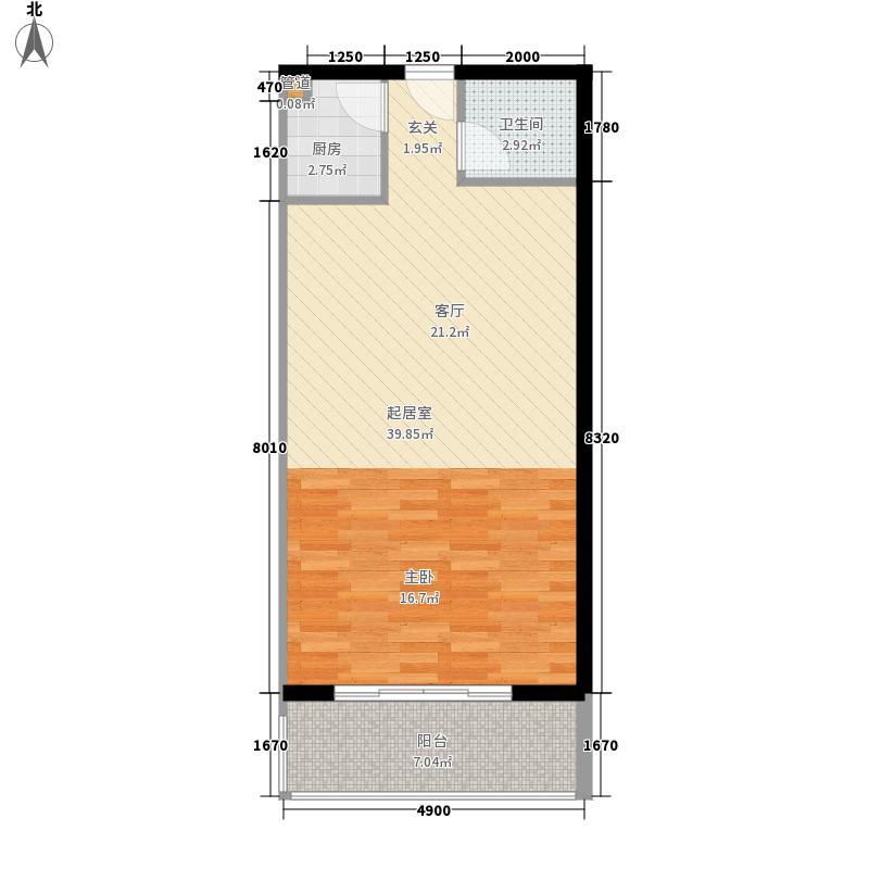 亨特国际二期户型图3栋e-2户型 1室1厅1卫1厨