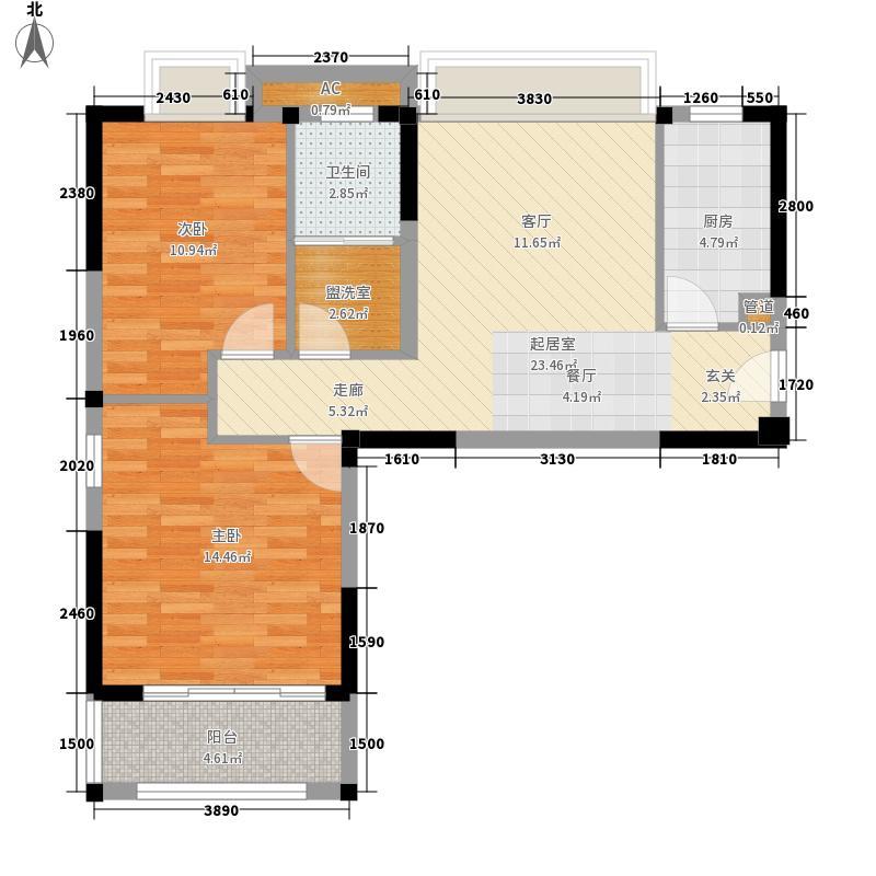 江南春城88.00㎡江南春城户型图二期1组团82室2厅1卫户型2室2厅1卫