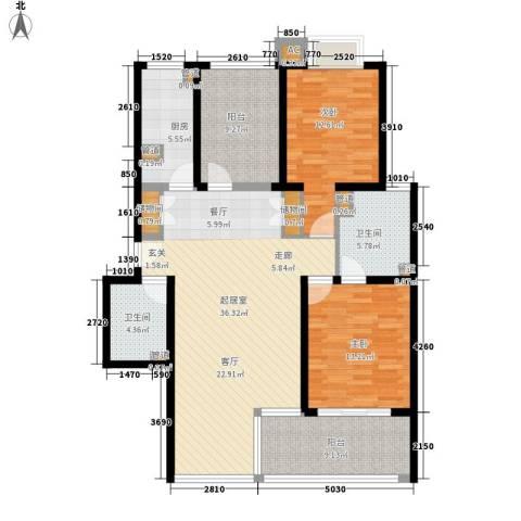 大华阳光曼哈顿2室0厅2卫1厨121.00㎡户型图