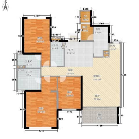 汇峰国际公寓3室1厅3卫1厨163.00㎡户型图