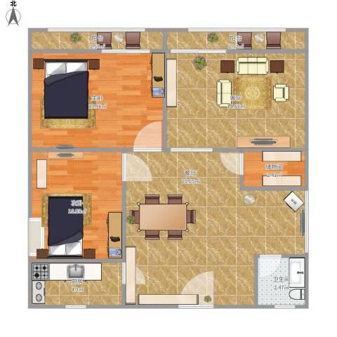 鹏润家园2室2厅1卫1厨107.00㎡户型图