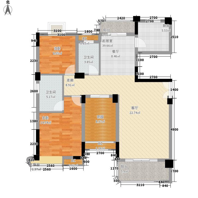 五矿・万境水岸12.20㎡一期E1栋标准层A1户型3室2厅1卫1厨