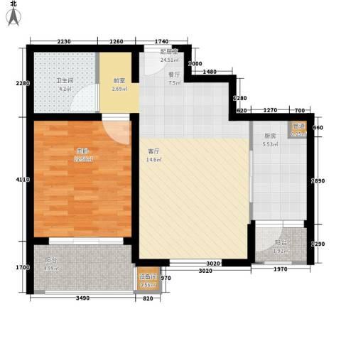 国际华城1室0厅1卫1厨63.00㎡户型图