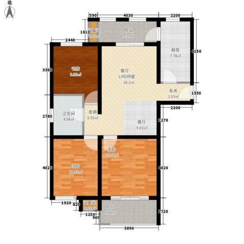 国际华城3室0厅1卫1厨99.00㎡户型图