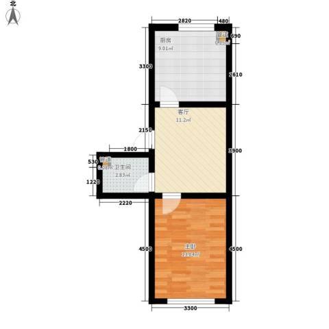 安康北苑1室1厅1卫1厨53.00㎡户型图