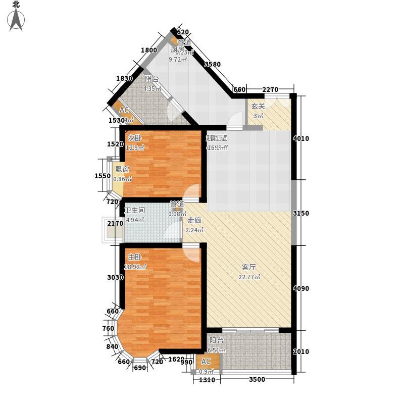 世茂外滩新城117.00㎡一号楼户型N户型2室2厅1卫1厨