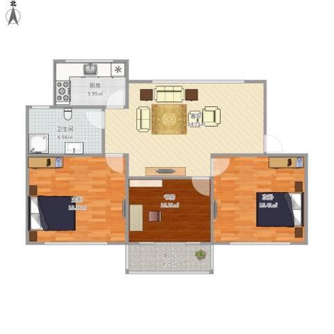牡丹路259弄小区3室1厅1卫1厨112.00㎡户型图
