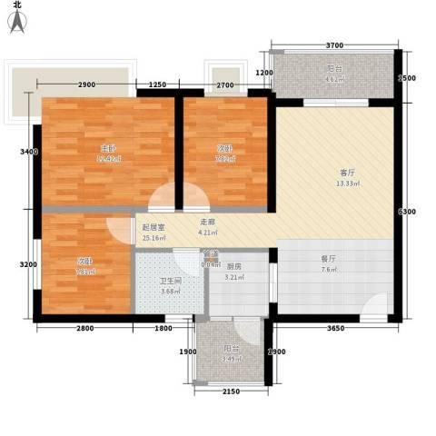 西元・椰景南岸3室0厅1卫1厨98.00㎡户型图