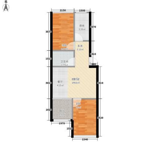 定慧寺东里2室0厅1卫1厨38.42㎡户型图
