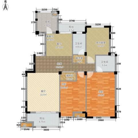 海棠湾花园2室1厅2卫1厨144.00㎡户型图
